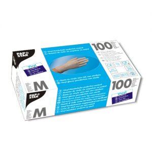 PAPSTAR - Luvas Vinil s/Pó Tamanho M Transparente Pack 100un