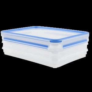 TEFAL - CLIP & CLOSE PLASTICO RETANGULAR DUPLA 2X0.6L+TAMPA