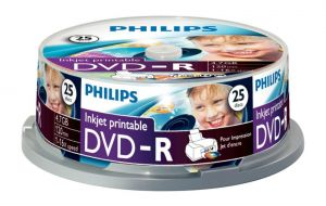 PHILIPS - DVD-R 4,7GB 16x Printable mate Cakebox (25 unidades)