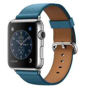 APPLE - 42mm Stainless Steel Case with Marine Blue Classic Buckle
