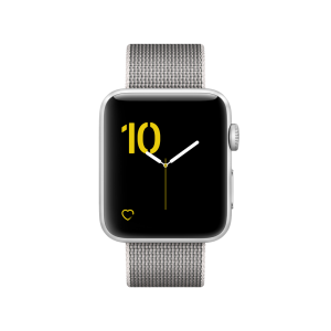 APPLE - Watch Series 2: 42mm Silver Aluminium Case with Pearl Woven Nylon Band