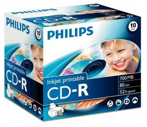 PHILIPS - CD-R 80MIN 700MB 52x INKJET PRINTABLE