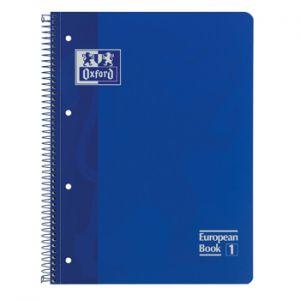 OXFORD - Caderno Espiral Oxford European Book: Capa Extra Dura Cartao: A4 Pautado: 90gr: 80 Folhas: Azul (min. 5 un.)
