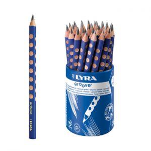 LYRA - Lapis Carvao Nº2-HB Lyra Groove Grafito Copo 36un, Lapis ergonomico com forma triangular e diametro de 10mm