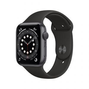 APPLE - Watch Series 6 GPS 44mm Cinzento Sideral com Bracelete Desportiva Preta - Regular