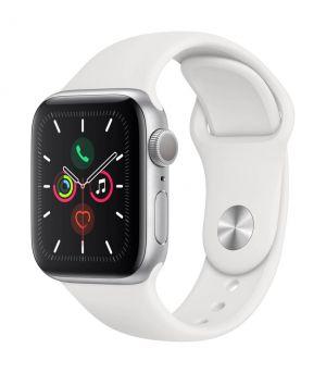 APPLE - Watch Series 5 GPS: 40mm Prateado com Bracelete Desportiva Branca