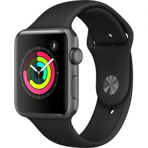 APPLE - Watch Series 3 GPS: 42mm Space Grey Aluminium Case with Black Sport Band