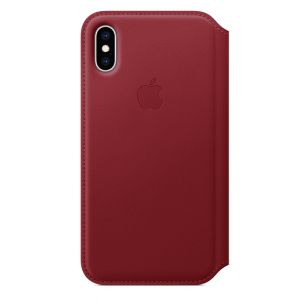 APPLE - iPhone XS Leather Folio - (PRODUCT)RED
