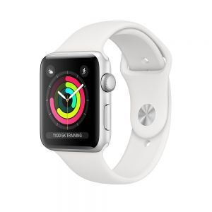 APPLE - Watch Series3 GPS: 42mm Silver Aluminium Case with White Sport Band