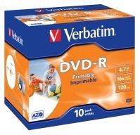 VERBATIM - DVD -R 4.7GB 16X JEWEL CASE 10 ADVANCED AZO IMPRIMIVEL INKJET
