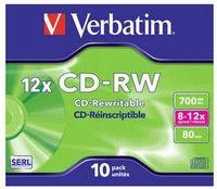 VERBATIM - CD -RW 700MB 8X-12X JEWEL CASE 10 DATALIFE