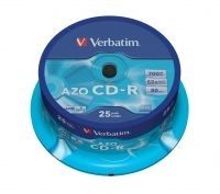 VERBATIM - CD -R 700MB 52X SPINDLE 25 80 MINUTOS SUPERFICIE DE VIDRIO SUPER AZO