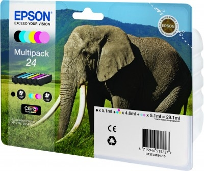 EPSON - Ink Cart /  24s Elephant Multi 6clrs RS